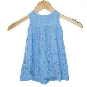 Zara Baby Girl Blue Lace Sleeveless Dress 12/18M